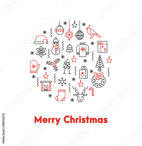 Greeting card with thin line icons ans big red words Merry Christmas ...