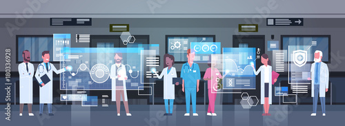 Stampa su Tela Group Of Medical Doctors Using Digital Monitor Working In Hospital Medicine And