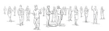 Silhouette Businessmen Shake Hands With Business People Group On Background, Businesspeople Shaking Hands Horizontal Banner Vector Illustration