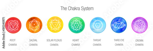 Fotografía  The Chakra system for yoga, meditation, ayurveda - banner / background