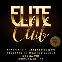 Vector Luxury Emblem Elite Club. Chic Alphabet Letters, Numbers And Punctuation Symbols. Golden Font With Graphic Style