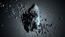 3D Illustration Of A Asteroid Floating In Space