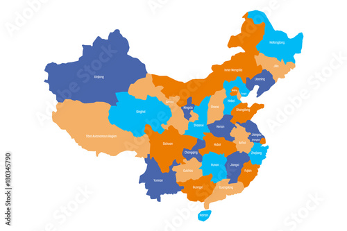 Obraz na plátně Map of administrative provinces of China. Vector illustration.