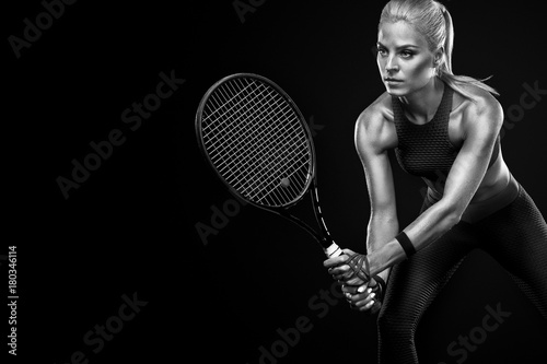 Fototapety Sport  beautiful-blonde-sport-woman-tennis-player-with-racket-in-red-costume