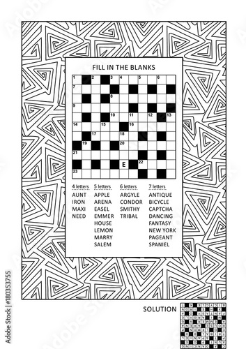 Puzzle and coloring activity page for grown-ups with criss-cross, or ...