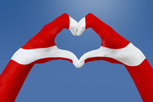 Hands Flag Of Denmark, Shape A...
