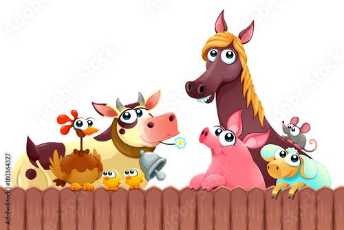 Staande foto Kinderkamer Funny farm animals smiling near the fence