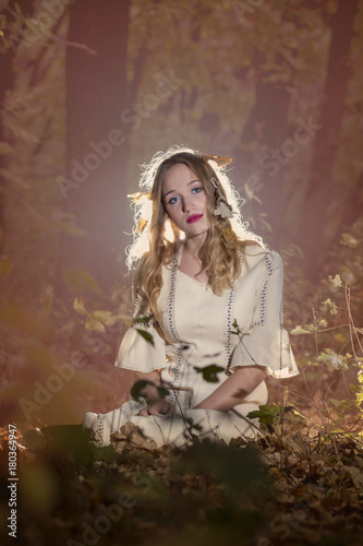 Foto op Aluminium Olifant Fantasy Fairy Tale Forest , young woman posing as nymph