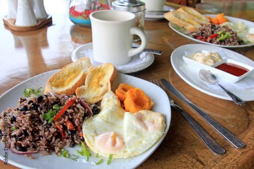 Traditional Gallo Pinto breakfast with eggs, Costa Rica, Central America Canvas Print