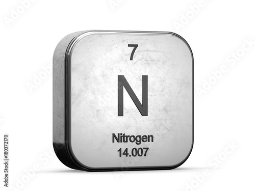 Nitrogen element from the periodic table metallic icon 3d rendered nitrogen element from the periodic table metallic icon 3d rendered on white background urtaz Images