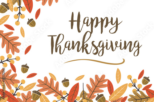Mod Fall Leaves Happy Thanksgiving Vector Illustration 1 Slika na platnu