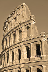 The Roman Colosseum, in sepia toning Rome Italy