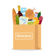 Paper bag with fresh food. Shopping at the grocery store. Vector illustration. Flat design.