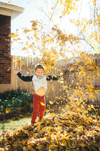 Valokuva  Little boy stands among brightly colored falling leaves