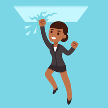 Business Woman Breaking Glass Ceiling