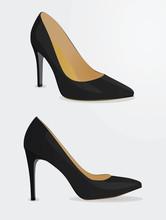 Women Black Shoes. Vector Illustration