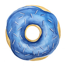Yummy Donut With White Sprinkles And Blue Coloured Shiny Fresh Glazing Topping. One Single Item, Closeup, Whole, Top View. Hand Drawn Watercolour Illustration, Isolated On White Background.