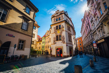 Magnificent Views Of The Narrow Karlova Street In The Center Of Prague In Sunlight. Dramatic And Picturesque Scene. Location Famous Place (unesco Heritage), Czech Republic, Europe. Beauty World.