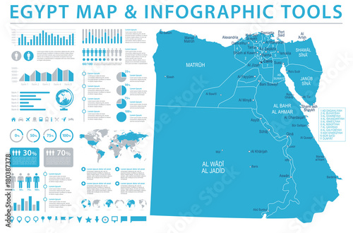 Photo Egypt Map - Detailed Info Graphic Vector Illustration