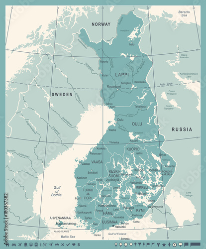 Finland Map - Vintage Detailed Vector Illustration Wallpaper Mural