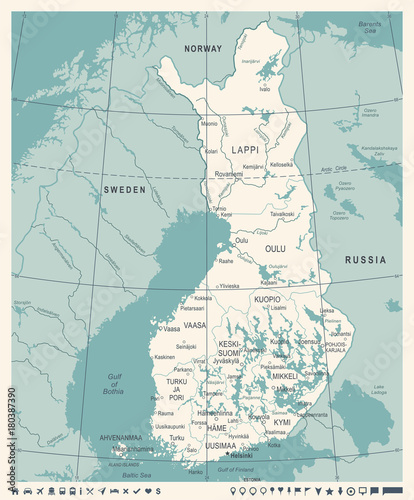 Photo Finland Map - Vintage Detailed Vector Illustration