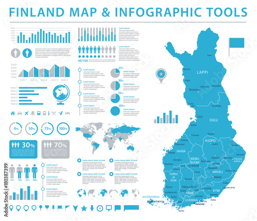 Canvas Print Finland Map - Detailed Info Graphic Vector Illustration