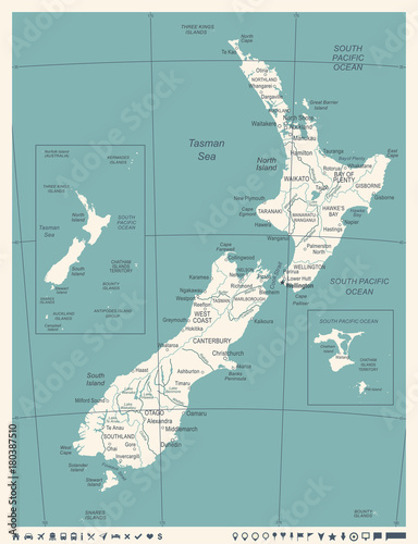 Fotomural New Zealand Map - Vintage Vector Illustration