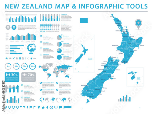 Photo New Zealand Map - Info Graphic Vector Illustration