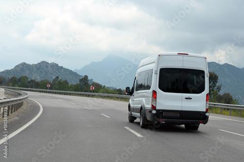 van on mountain highway