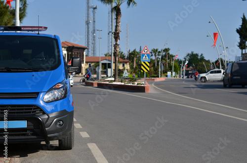 Fotografie, Obraz  police bus parked on street