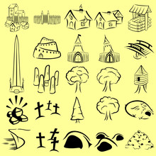 Linear Role Playing Game Map Icons Set