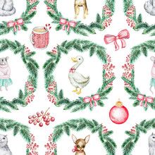 Christmas Seamless Background Pattern With Pets