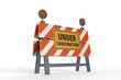 construction sign with road block