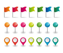 Set Of Colorful Flags, Round P...