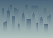 Silhouettes a big city in the dusk. Megapolis in the fog. Buildings of the city in the dark. Nightfall town. Abstract vector illustration.