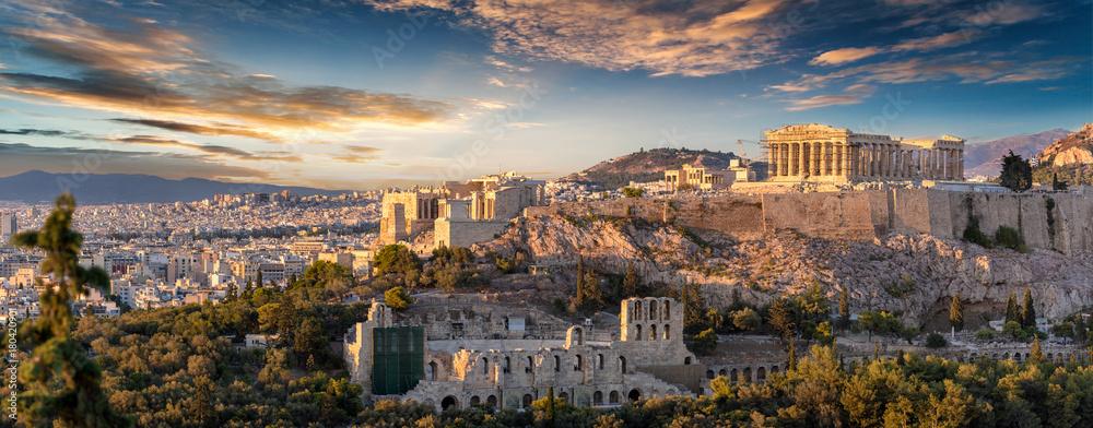 Fototapety, obrazy: Panorama der Akropolis von Athen, Griechenland, bei Sonnenuntergang