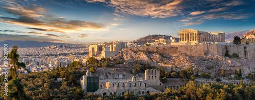 Fotobehang Athene Panorama der Akropolis von Athen, Griechenland, bei Sonnenuntergang