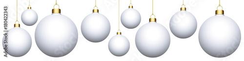 Bannière. Boules de Noël blanches (fb) Fototapet
