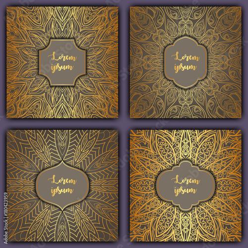 Fototapety, obrazy: Set of mandala background cards. Vintage elements. Vector decorative retro greeting card or invitation design