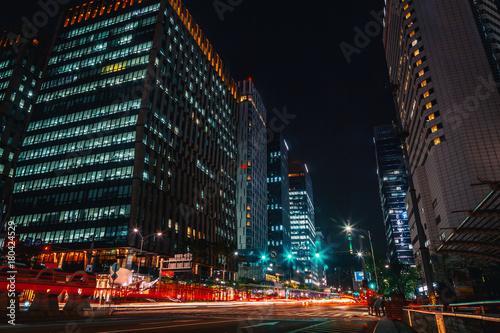 Street at night, Seoul, South Korea, motion blur