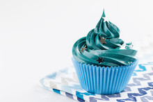 Blue Cupcake With Stars Glitter Sprinkles