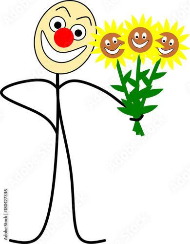 Fotografie, Obraz  Strichmännchen mit Sonnenblumen zum Muttertag