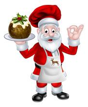 Santa Chef Holding A Christmas...