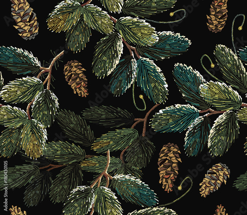 Cotton fabric Embroidery fir-tree branch with cones. Merry Christmas classical embroidery snow-covered branch of a fir-tree. Christmas art pattern. Clothes, textile design template