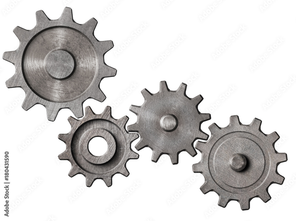 Fototapeta metal gears and cogs cluster isolated 3d illustration