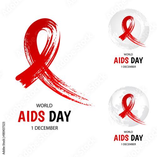 Hand drawn red ribbon, world aids day symbol, 1 december. Canvas Print