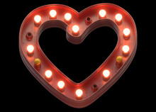 Retro Sign Light Heart Shape