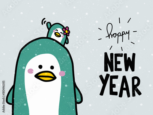 happy new year word and cute couple penguin lover cartoon
