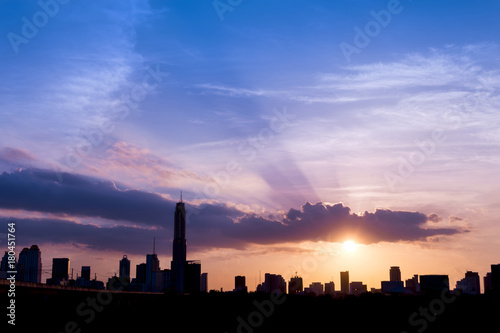 silhouette of cityscapes bangkok city on sunset sky background, thailand Poster