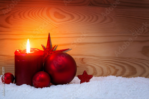 Christmas red decoration and Advent candle. Wallpaper Mural